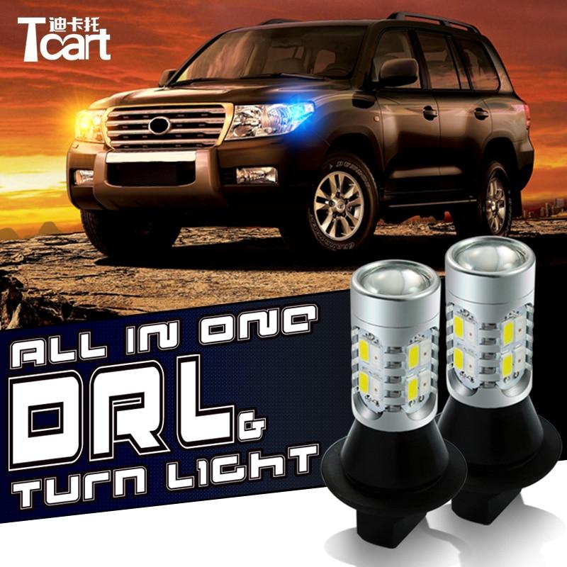 Tcart P21W drl-strålkastare för KIA Sportage K5 k2 K3 K3S Forte Optima RIO Soul LED DRL & främre blinkerslampor allt i ett
