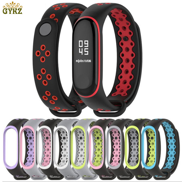 GYKZ 1pc Double Color Sport Wrist Silicone Strap For Xiaomi mi Band 3 Bracelet F
