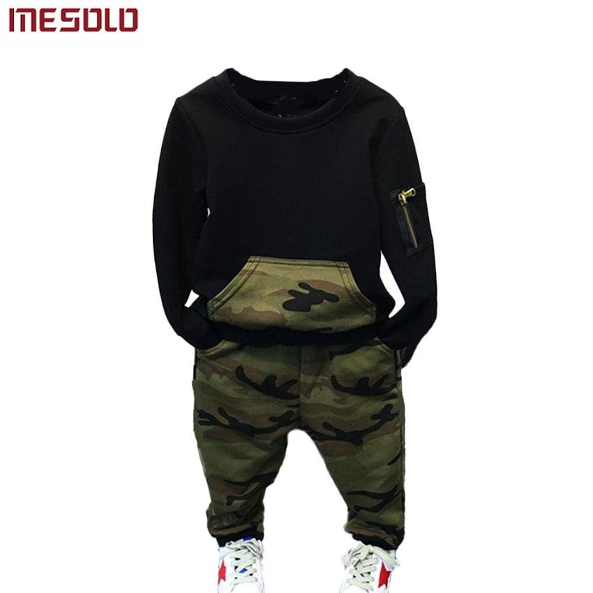 MESOLO ბიჭები ტანსაცმლის ნაკრები ბავშვის საგაზაფხულო სპორტული შემთხვევითი გრძელი ყდის პერანგი + შარვალი საბავშვო 2PCS აქლემის საბავშვო ტრეფიკი ბიჭების