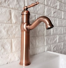 цена на Bathroom Sink Faucet Antique Red Copper 360 Degree Swivel Basin Faucet Water Tap Single Handle Cold and Hot Water znf388