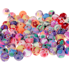 Free shipping (50 Pieces/lot) 8mm Resin Beads Printing Flower Pattern Round Loose Beads Mix Color For Jewelry Making