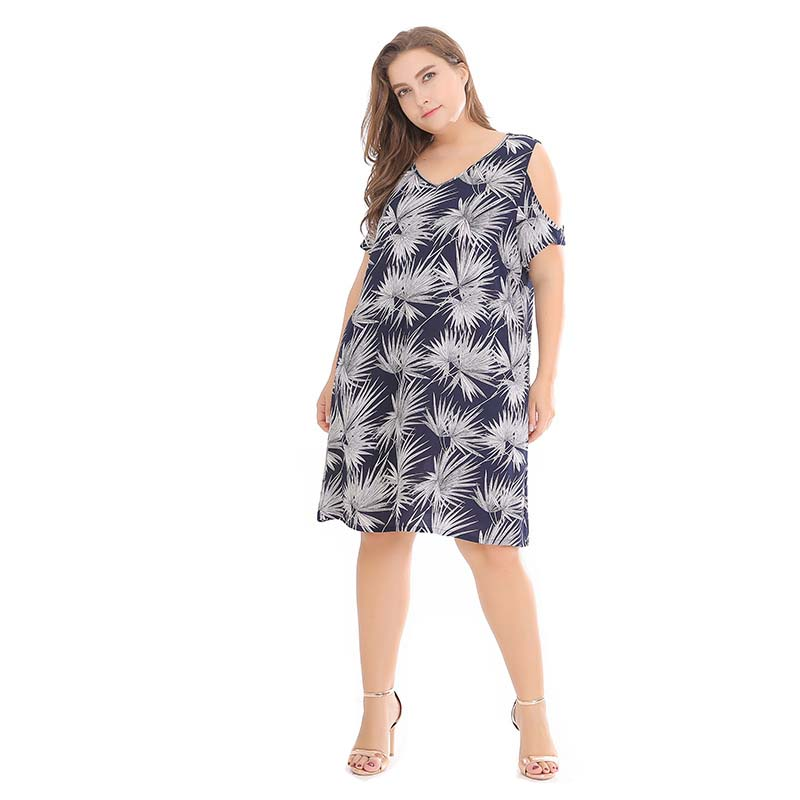 WHZHM Jurken Party Plus Size 3XL Dress Women Printed Elegant Beach Loose V Neck Vadim Casual