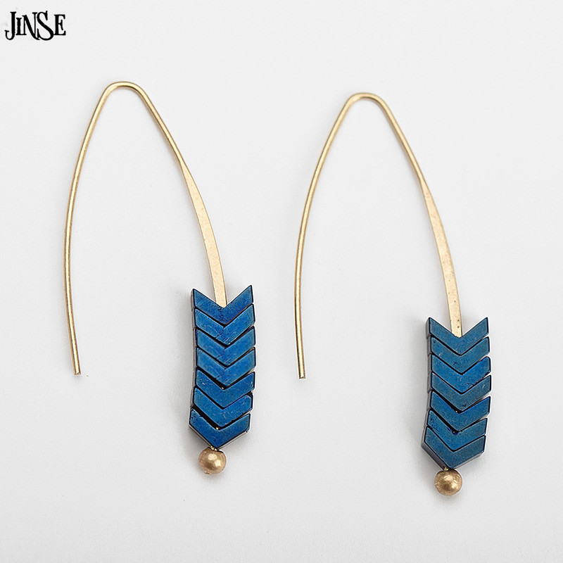 JINSE Women New Creative Texture Arrows Pendant Earrings High Grade Plating Alloy Earrings Retro Female Gift Jewelery JHX174
