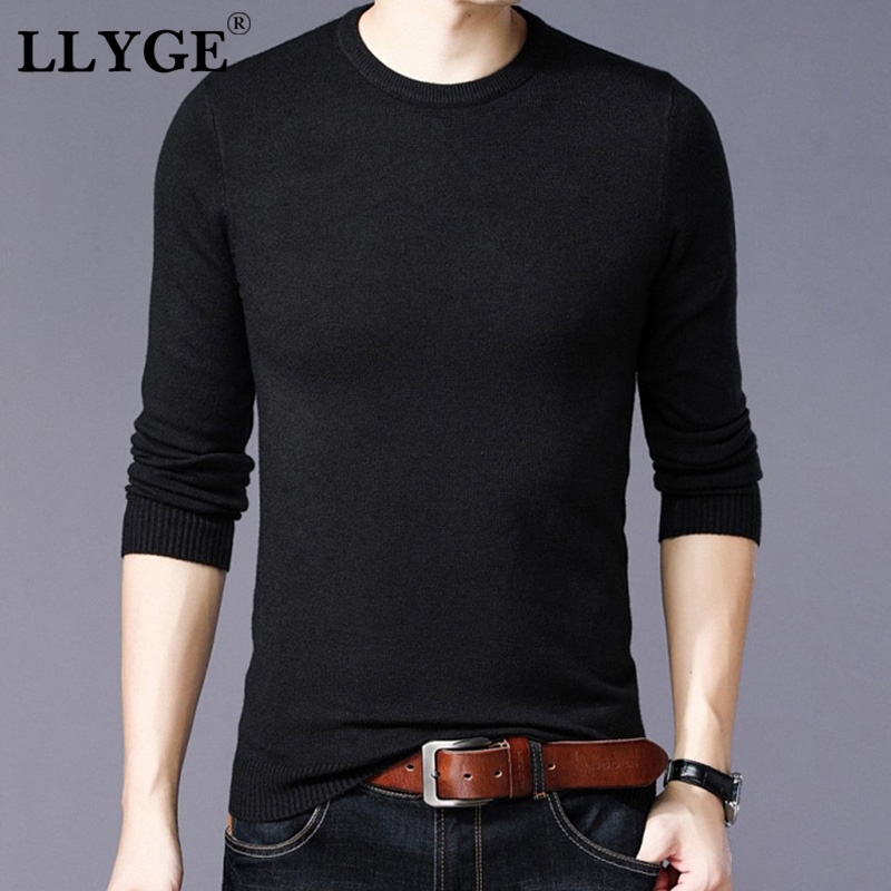 LLYGE Men Autumn Winter Knitted Wool Sweaters 2019 Warm Casual Solid Slim Fit Cashmere O Neck Pullovers Mens Fashion Jumpers