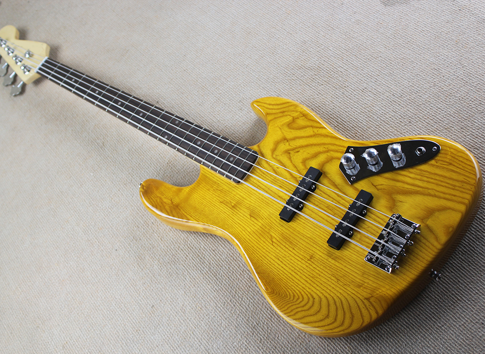 buy factory custom 4 strings retro yellow jazz electric bass guitar with ash. Black Bedroom Furniture Sets. Home Design Ideas