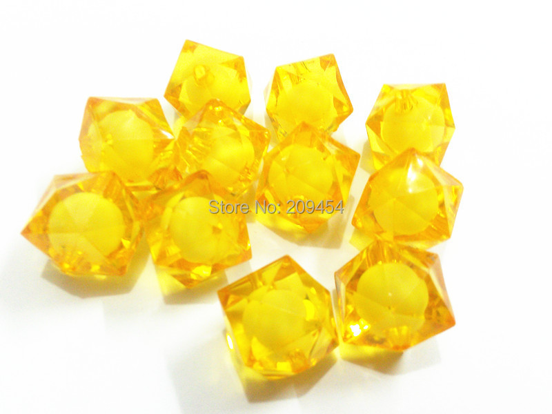 Jewelry & Accessories choose Size First 12mm/16mm/20mm Gold Cube Acrylic Beads In Beads Cheap Sales