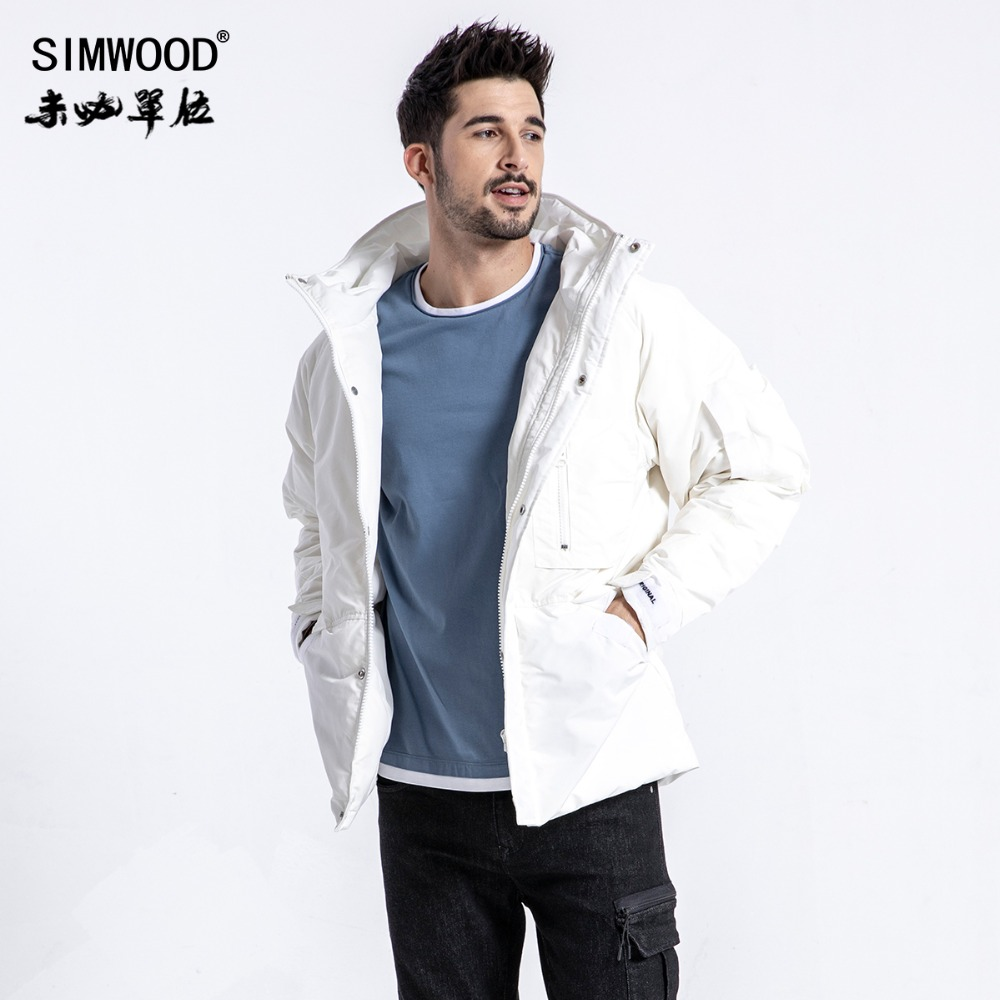 SIMWOOD Winter Warm Coats Patch Pocket Fashion Hooded Puffer   Parka   Men High Quality Plus Size Jackets Brand Clothing 180598