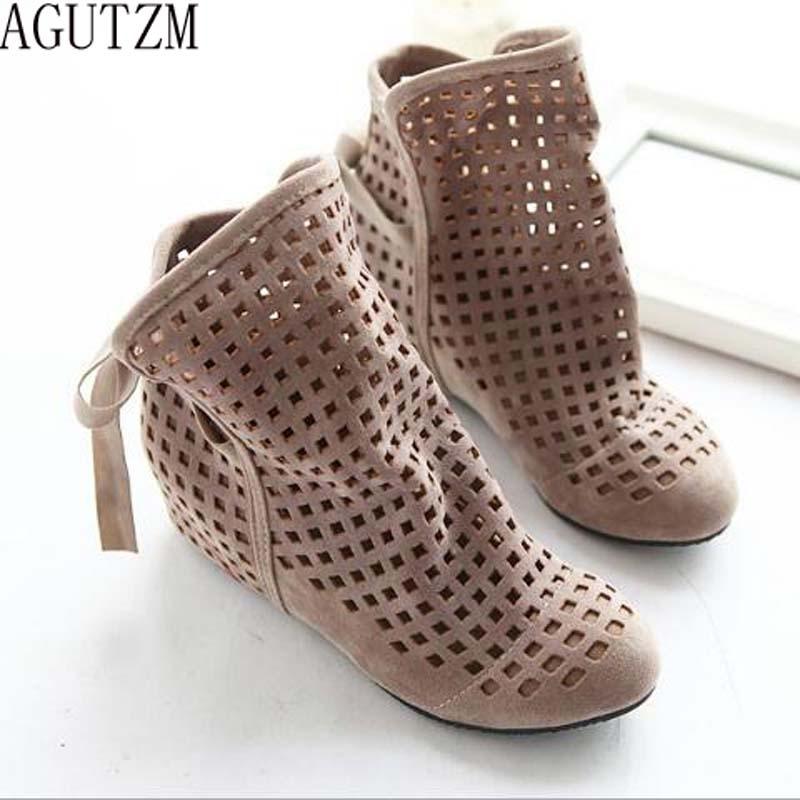 AGUTZM Big Size 34-43 Womens Summer Boots Flat Low Hidden Wedges Cutout women Boots Ladies Dress Casual Shoes V65