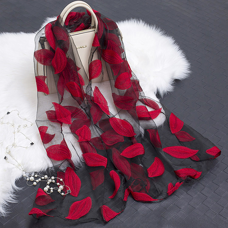 Elegant Flower Women Shawl   Scarf   Lightweight Sheer Organza   Scarf   Women Long Soft Silk Shawls and   Scarves   Ladies Summer   Wrap
