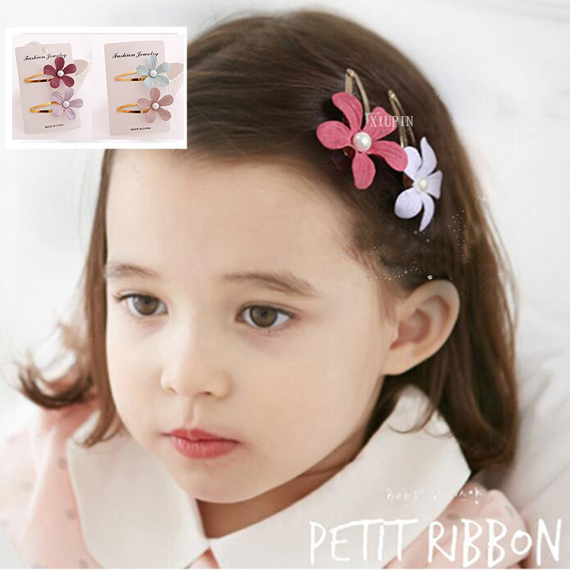 #AD17033 2PC Fabric Flower Barrette Candy Color Baby Girls Hairpin 5cm BB Clips Snap Band Hairpins Toddler Kids Hair Accessories