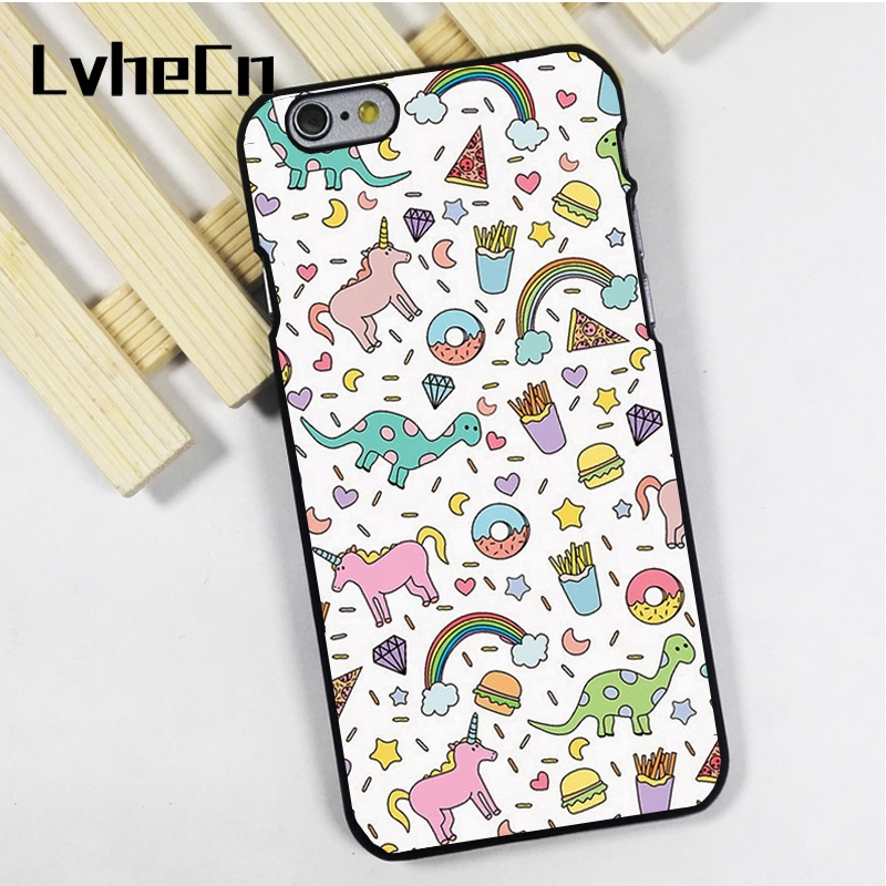 LvheCn phone case cover fit for iPhone 4 4s 5 5s 5c SE 6 6s 7 8 plus X ipod touch 4 5 6 Dinosaur Unicorn Colourful Fun Cartoon