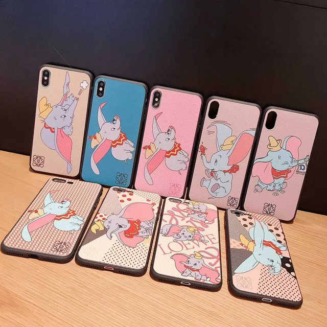 Fashion cartoon brand cute Dumbo leather phone case for iPhone 6 6s 11 7 8 Plus X Xs XR MAX high quality TPU silicone cover