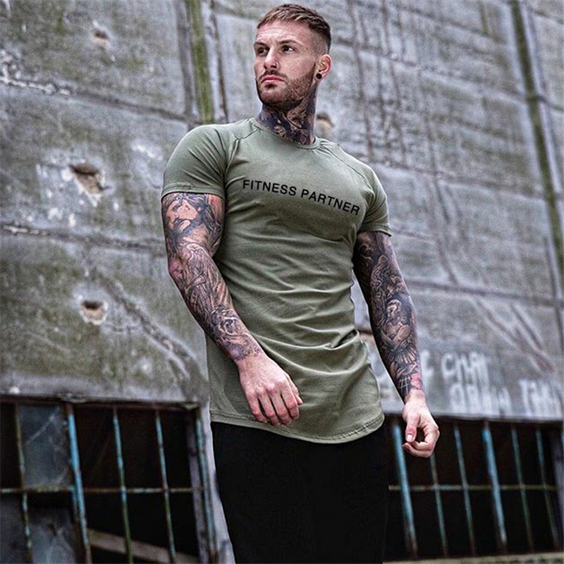 2019 Clothing Fitness T Shirt Men Fashion Extend Long Tshirt Summer Gyms Short Mens T-shirt Cotton Bodybuilding Tops