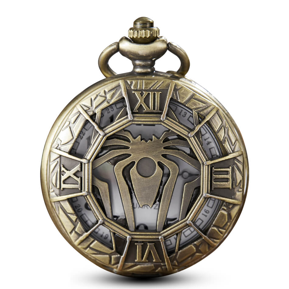 Spiderman Spider Pocket Watch Chains Hollow Bronze Quartz Pocket Watch Steampunk Necklace Pendant For Men Gifts Relogio De Bolso