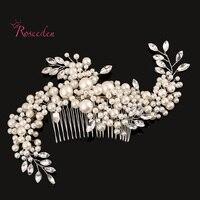 Exquisite Handmade Novies Simulated Pearl Hairpiece Wedding Hair Accessories Bridal Hair Clip Headwear Hair Combs RE283