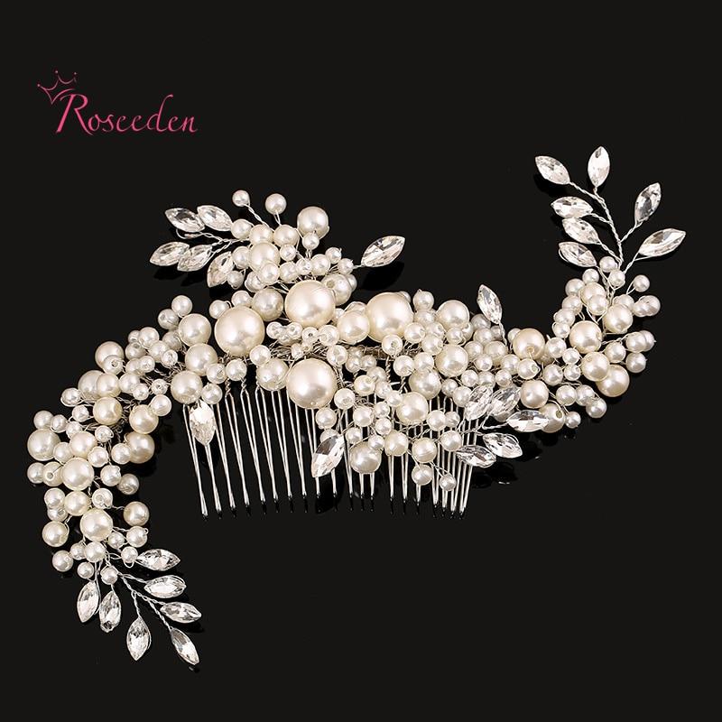 Finom kézműves regények, szimulált gyöngy hajdísz esküvői haj kiegészítők Menyasszonyi hajcsipesz fejfedő haj fésűk RE283