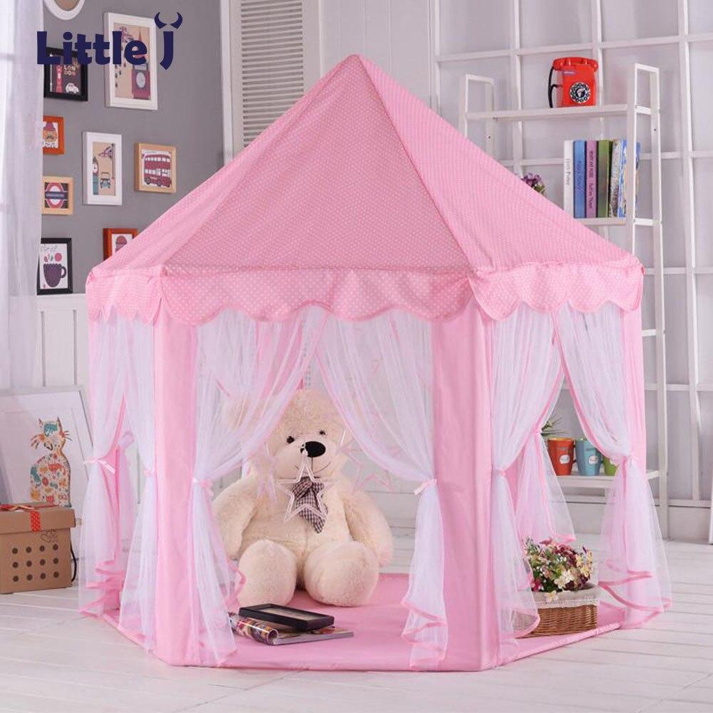 Little J Portable enfants jouets jouer tentes filles princesse rose château enfants à l'extérieur jardin pli tente balles piscine jouer Lodge