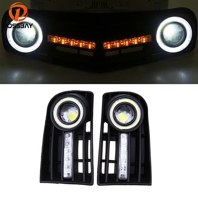 POSSBAY LED DRL Daytime Running Lights for VW Golf MK5 2004/2005/2006/2007/2008/2009 Angel Eye Fog Light Front Bumper Grilles