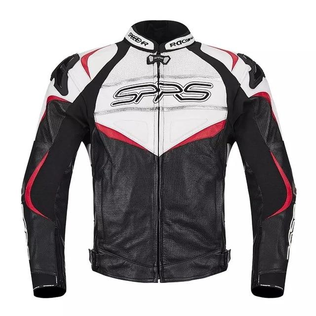 273577b03c8 Chaqueta de moto de cuero SPRS MotoGP Motocross Racing chaqueta de cuero  para motociclista Caballero motorista
