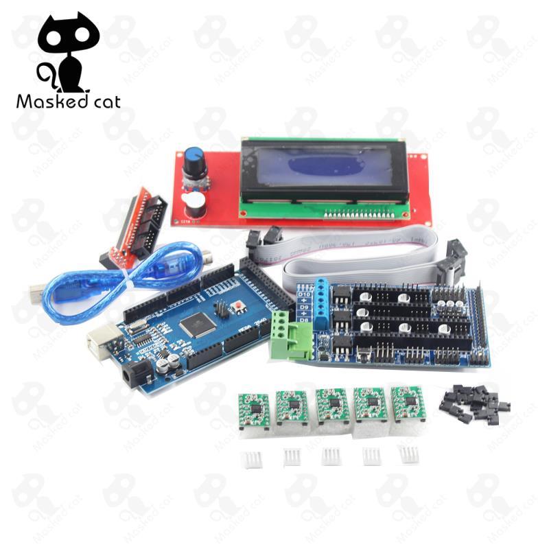 цена на 3D Printer Motherboar Parts 1pcs Mega 2560 R3+1pcs RAMPS 1.5 Controller+1pcs LCD 2004 controller+5pcs A4988 Stepper Motor Drive