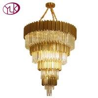 Youlaike Роскошные люстра на лестницу освещения Большой Современная хрустальная лампа лобби Золото Полированная Сталь кристальная Люстра све