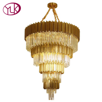 Youlaike Luxury Staircase Chandelier Lighting Large Modern Crystal Light Lobby Gold Polished Steel Cristal Lustre LED Lampadari
