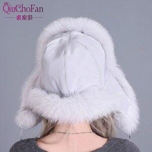 Image 4 - Chapeau en fourrure pour femmes, fourrure de raton laveur naturelle, oussanka russe, chapeaux, oreilles chaudes épaisses, à la mode, casquette de bombardier noire, nouveauté