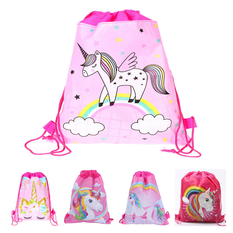 Cartoon Unicorn Non-Woven Drawstring Bag Swimming Backpack Storage Bag Kids Gift