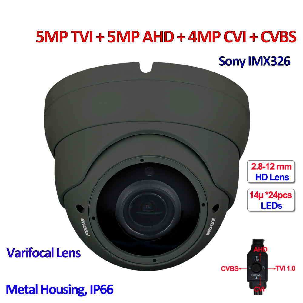 4in1 5MP AHD 5MP TVI 4MP CVI Security camera IMX326 CMOS outdoor CCTV cameras, Varifocal Lens, UTC, OSD, IR CUT, DNR, 24pcs LEDs 5mp tvi 4mp ahd cvi imx326 cmos security camera 4in1 surveillance cameras ir cut dnr utc osd varifocal lens smd ir leds