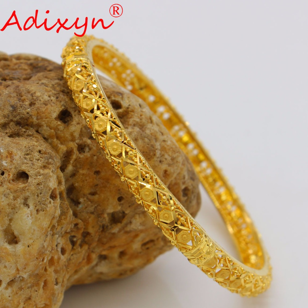 Adixyn NEW Gold Color Bangles&Bracelets Dubai Gold Bangles For Women Ethiopian/Arab/Middle East Party Gifts N04185