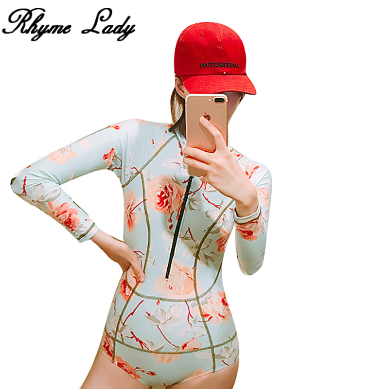 Rhyme lady new style long sleeve Rash Guard Sports swimwear women swimsuit bathing suit girls surfing suit wetsuit beachwear
