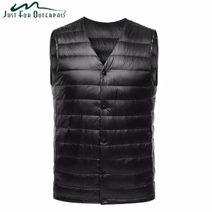 Image 1 - 2019 New Fashion Ultra Light Down Vest Men Spring Autumn Sleeveless Collarless Vest Male Casual Winter White Duck Down Waistcoat
