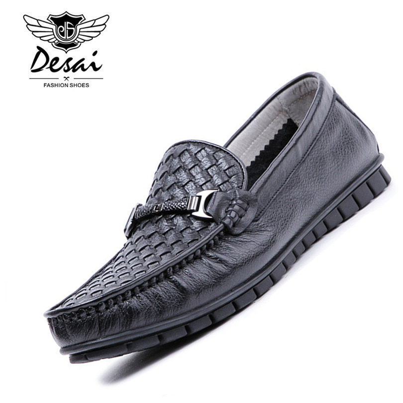 DESAI Brand 2017 Cool Summer Genuine Leather Men Boat Shoes Weave Pattern Super Soft And Comfortable Flat Driving Men Shoes desai brand mens sandals genuine leather shoes fashion summer men slippers breathable casual shoes leather man ds968
