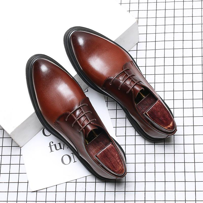 Robe Bout Lace Up Cuir Hommes Gentleman Weishimibang Rond Concise marron  Brun Loisirs Noir Chaussures Tendance ... a246512dd86