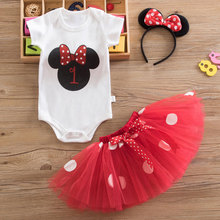 Newborn Baby Girls Clothes 1st Toddler Christening Dress Polka Dot Baptism One Year Birthday Girl Outfit Princess Kids' Dresses