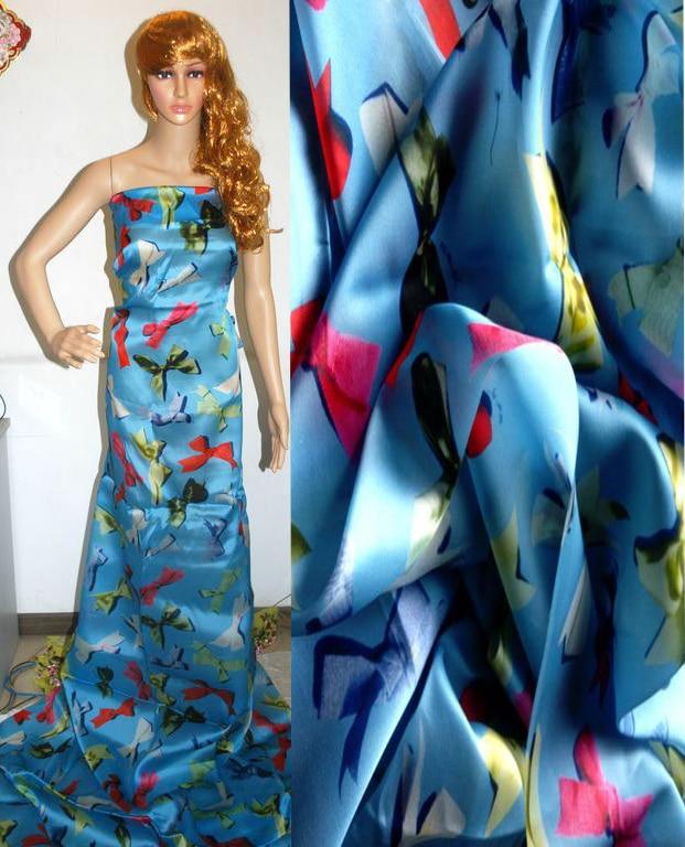 Nouveau tissu de dentelle française pour coudre Organza soie tissu tissé matériel pour rideaux Tulle bleu arc imprimé Blouse robe Textile