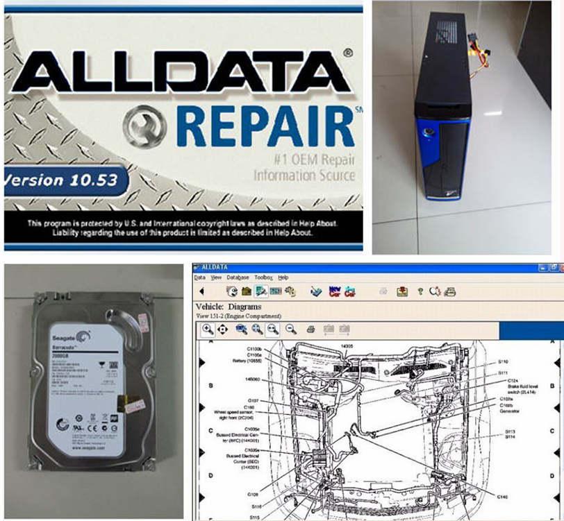 Ремонт автомобилей программного обеспечения V10.53 Alldata и программное обеспечение Митчелл 2017 + мини компьютер с 2 ТБ жесткий диск установлен хо