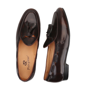 Image 5 - Piergitar 2019 dark brown hand polished calfskin BELGIAN LOAFERS with matching tassels ITALY designs handcrafted mens loafers