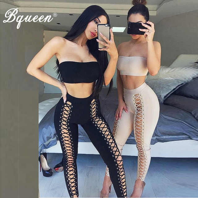 Bqueen 2017 New Arrival Sexy Women Bandage Set Strapless Short Top With Full Length Lace Up Pants Summer Autumn Lady 2 Piece Set