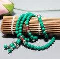 Ubeauty 6 мм 108 бирюзовые бусы женщины ожерелье Буддийский Мала Молитва Браслет с Тибетского Серебра Аксессуары для медитации