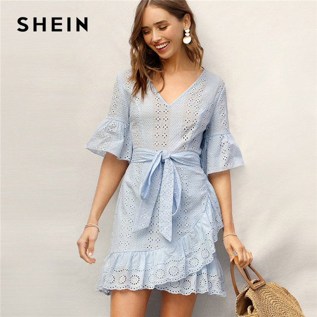 3a079e768d SHEIN Blue Bell Sleeve Ruffle Wrap Hem Belted Schiffy Dress Women Summer  Boho V Neck Half