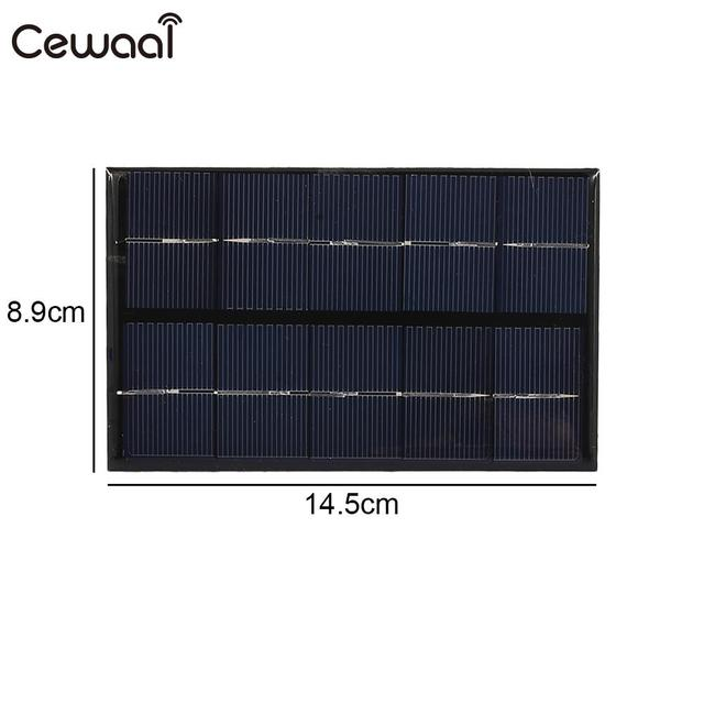 Cewaal USB Solar Panel 5W 5V Polysilicon USB Port Fast Charger Mobile Phone Portable Solar Generator 2