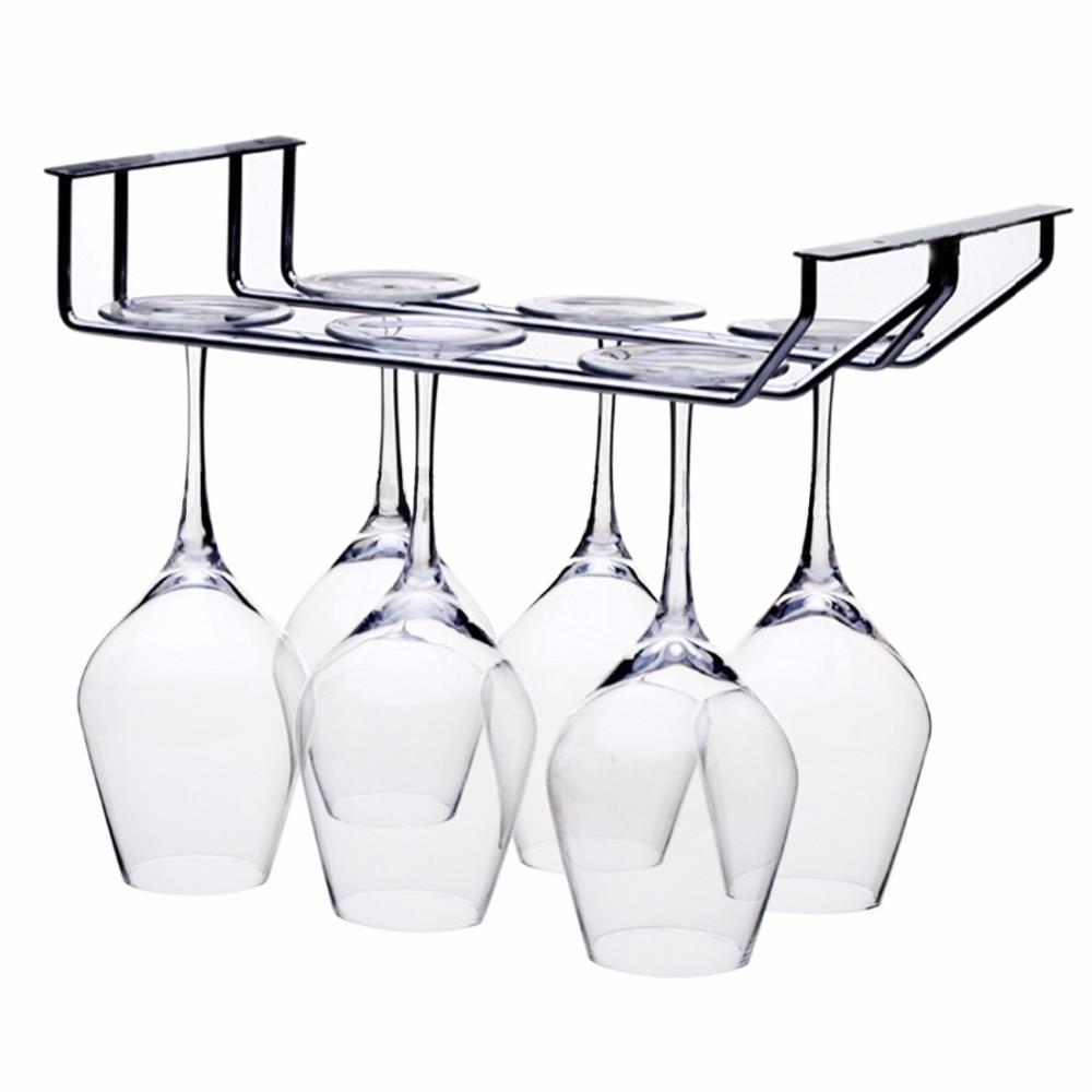 HIPSTEEN 2 řádky Nerezová ocel Kuchyňské náčiní Vinné skleněné rackové závěsy Barové schránky Domů Skleněný držák pro kuchyňské stříbro