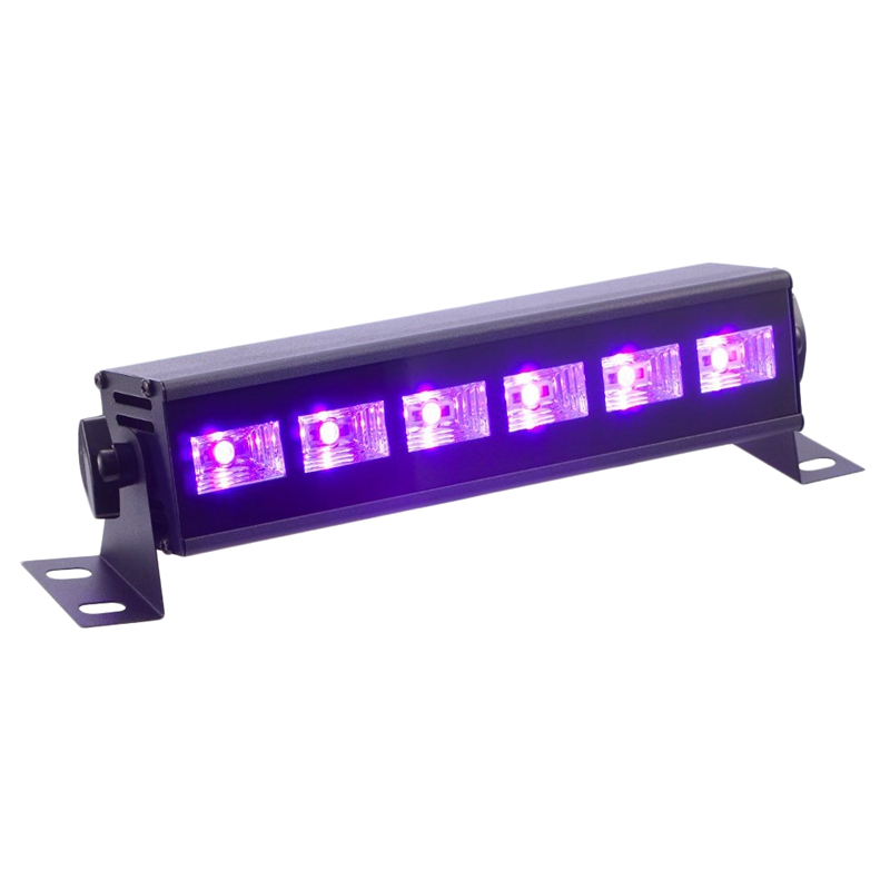 Black Light 3W X 6 Leds Uv Bar Black Light Fixture For Party Club Dj Stage Lighting Metal Housing Black,Us Plug