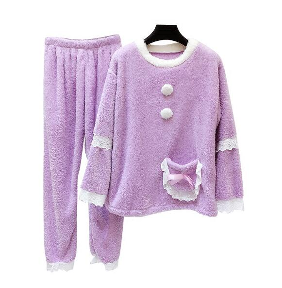 Autumn Winter Women 2 Piece Sets Lace Patch Clothes Sleepwear Loose Pajamas Thicken Pants Nightwear Warm Home Sets