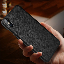 Ilk katman sığır derisi Iş Hakiki deri çanta kapak Iphone XS Için MAX XS XR X Mat telefon kılıfı
