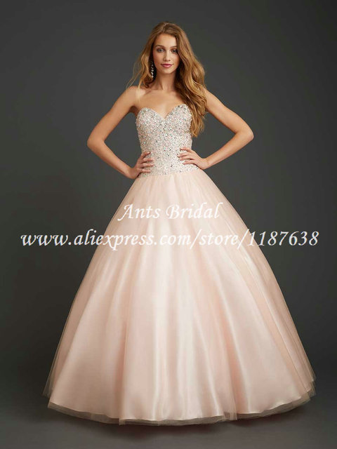 99165b5818e Princess Sweet 16 Dresses Corset Sweetheart Beaded Tulle Blush Pink  Quinceanera Dresses 2015 Long Puffy Ball Gowns YN616