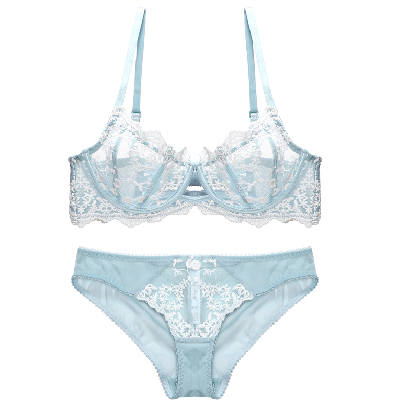 Sexy Lace Bra And Panty Set Lingerie Transparent Bra Snowflake Push Up Underwire Unlined Embroidery Underwear Women Intimates