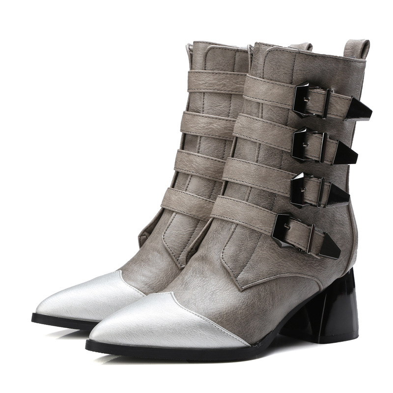 ФОТО Women Retro Splicing frosted boots in velvet belt Suede middle rubber winter boots XW-52