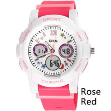 OTS Brand Children Girls Digital LED Dual Display Watch Kids Wristwatch Birthday Gift Quartz Calendar Clock Sports Waterproof